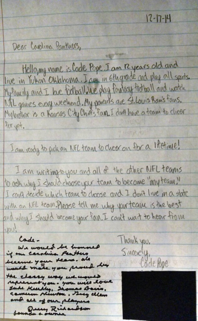 Cade Pope's letter to the Carolina Panthers with owner Jerry Richardson's response below. Image courtesy of The Washington Post.