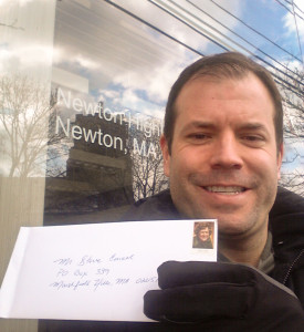 Me mailing the letter to Steve Carell from his hometown of Newton, MA. It was about 0 degrees when I snapped this photo.