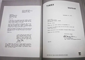 An exchange between Lazlo Toth and TIMEX from The Lazlo Letters
