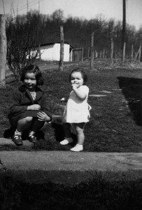 Mom (left) and Aunt Patti circa 1951 In Tazewell County, Virginia.