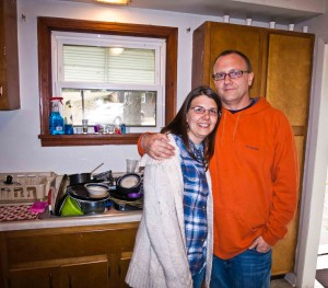 These are my friends Thom and Tressa - they didn't live there but they did meet in that kitchen and are married today. Those are some of the dishes that were there (literally sitting in the exact same spot unwashed) when we lived there in the 90s.