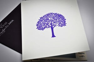 My attempt at an embossed tree on Dr. Maria's card.