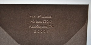 Just a little embossed return address...that's all.