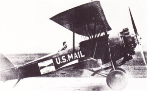 Charles Lindbergh at the controls of one of the planes that flew American airmail in the first years after the service's inception. (fiddlersgreen.net)