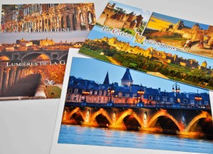 Postcards that Reyes sent me from her travels through the south of France.