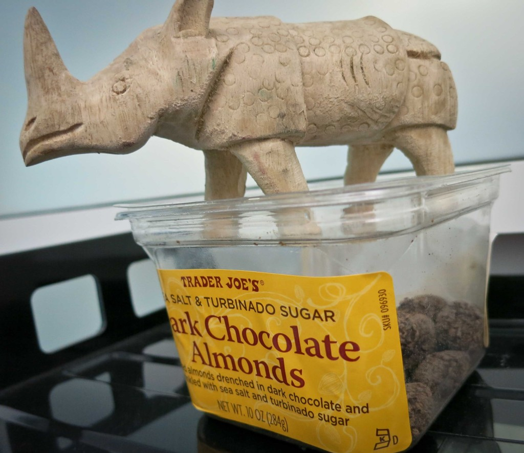 My coworker Jake also received a rhino from Rhonda. He put his to work guarding some Trader Joe's Chocolate Covered Almonds. Sadly I have to report that two almonds were poached under his watch on the first day.