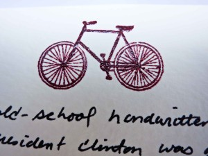 I embossed a bicycle on the card - the President enjoys mountain biking.