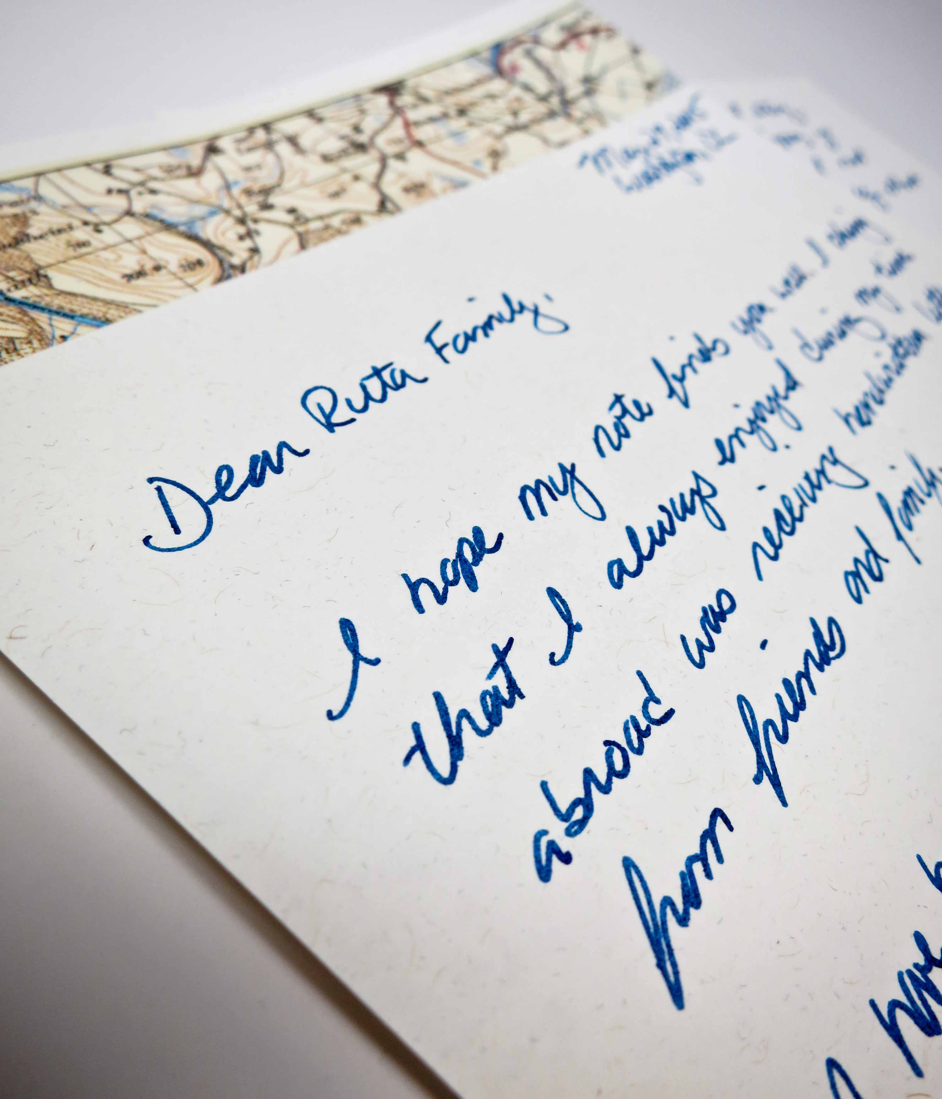 I used some Wasi tape to add an international touch to the header of this piece of stationery.