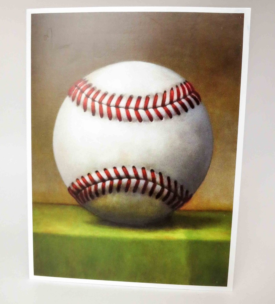 "The front of the card is an image of ""Big Baseball"", a painting by Washington, D.C. artist Daniel Kessler."