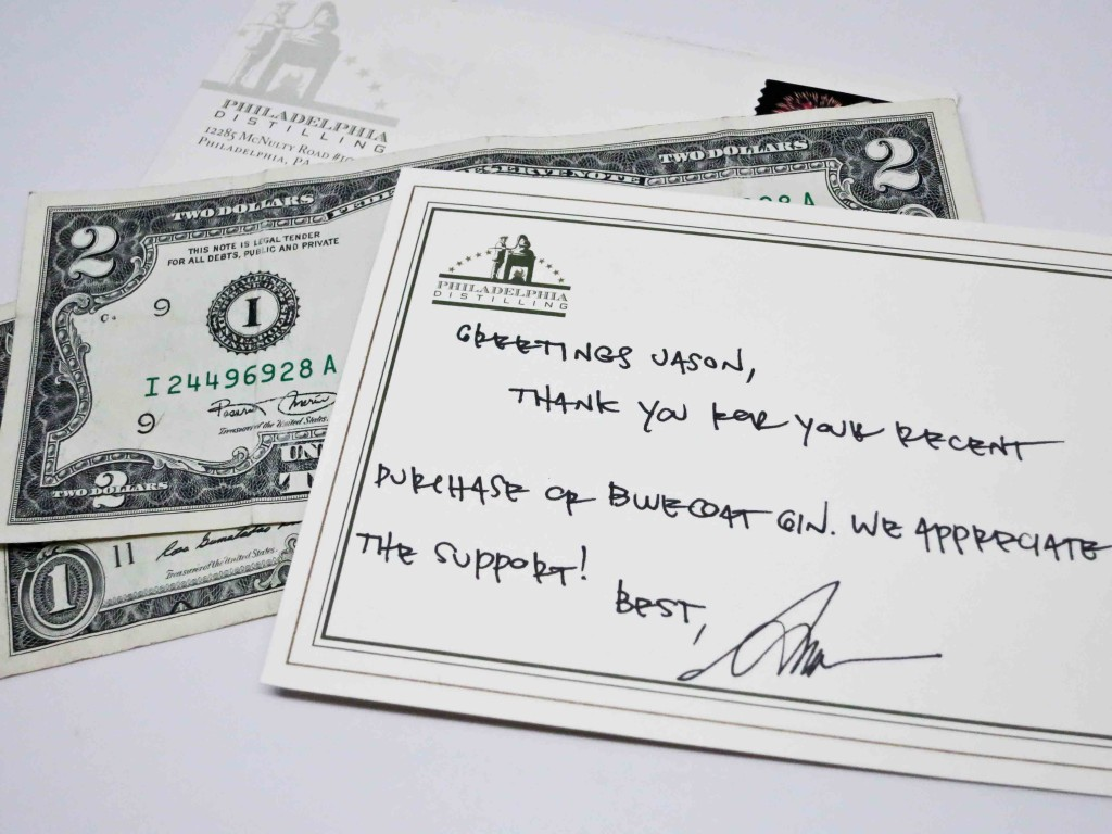 My $3 rebate along with a handwritten note from the President and Founder of Philadelphia Distilling.