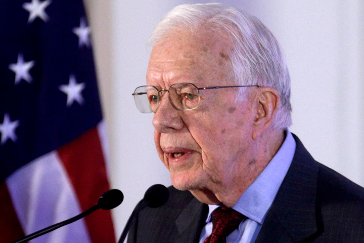 Former U.S. President Jimmy Carter speaks at an Ethical Elections Pact signing ceremony in Panama City, Friday, March 14, 2014. (AP Photo/Arnulfo Franco)