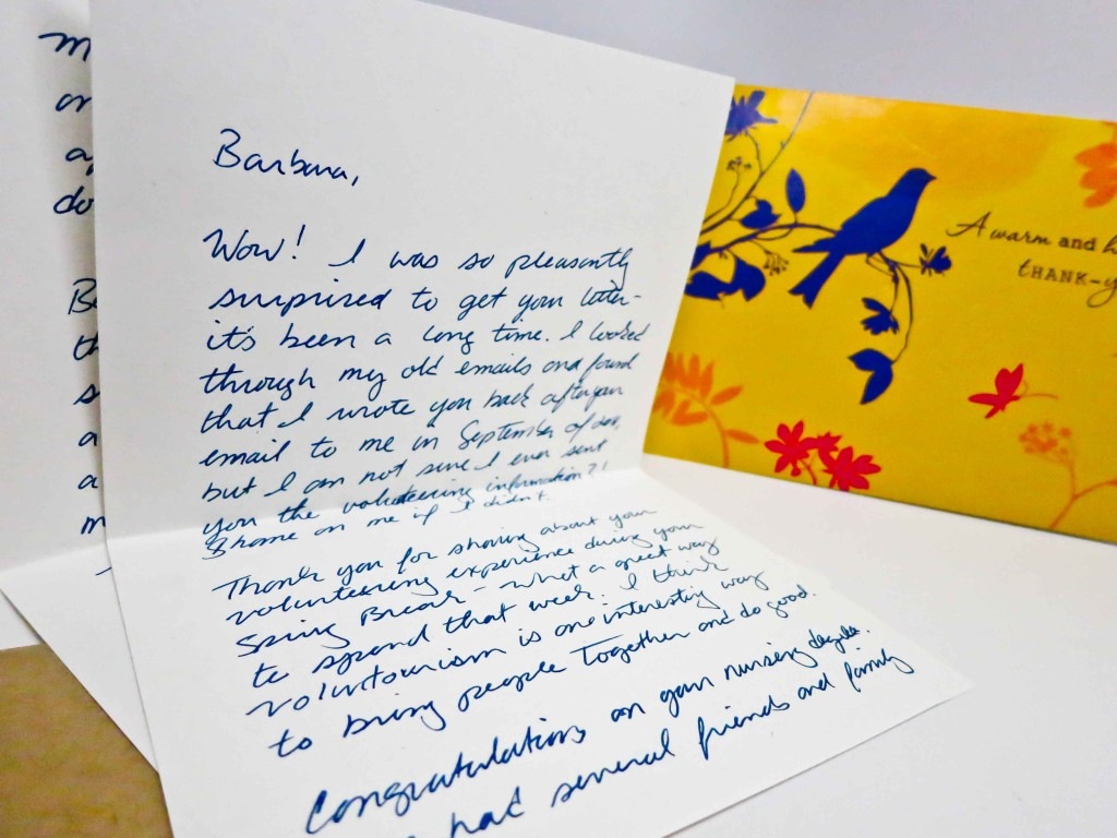 My letter with Barbara's card in the background.