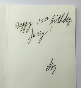 Birthday card to my Dad from Steve Wozniak!